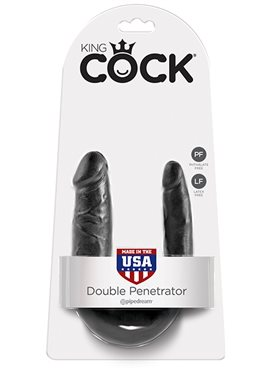 KING COCK SMALL DOUBLE TROUBLE BLACK DT45392 Pipedream