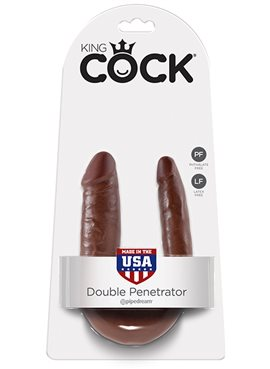KING COCK SMALL DOUBLE TROUBLE BROWN DT45393 Pipedream
