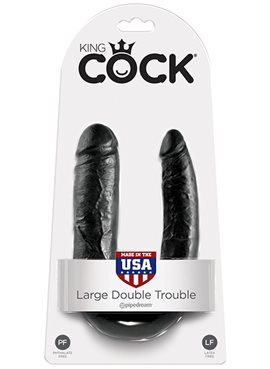 KING COCK LARGE DOUBLE TROUBLE BLACK DT45395 Pipedream