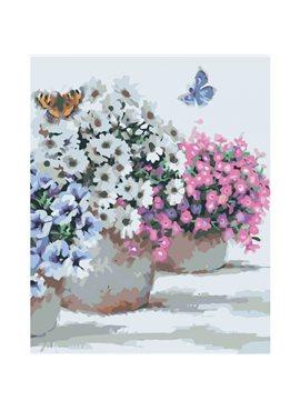 """Картина по номерам. Цветы """"Цветы в горшочках"""" 40*50см KHO2933"""