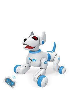Собака 8205BLUE, 26см,р/у,реаг.на руку,аккум,муз,зв(англ),св,прогр,танц,USBзар,кор,32-25-23см