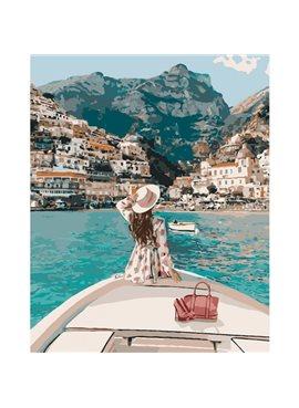 """Картина по номерам. """"Путешествие на яхте"""" 40*50см KHO4614"""