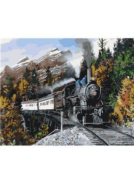 """Картина по номерам. Загородный дом """"Быстрый поезд"""" 40*50см KHO2511"""