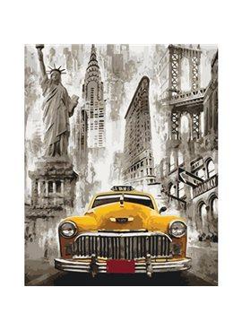"""Картина по номерам. Городской пейзаж """"Такси Нью-Йорка"""" 40*50см KHO3506"""