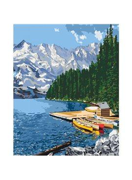 """Картина по номерам. Сельский пейзаж """"Горное озеро"""" 40*50см KHO2223"""