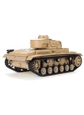 Танк HENG LONG Tauch Panzer III Ausf.H р/у аккум 3849-1, 1:16, дым,звук,вращ.башня,пневм.орудие