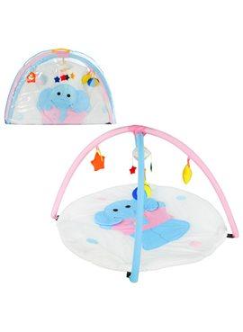 Коврик для младенца W8311 слоник, кругл.85см, дуги 2шт,подвески-плюш 5шт, в сумке, 81-56-6см