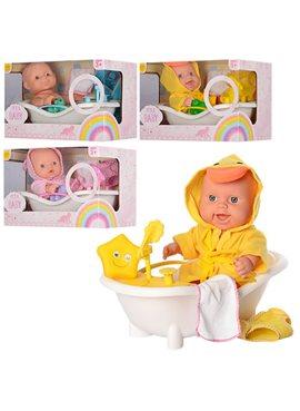 Пупс 6107, 28см, ванна(звук), игрушка-пищалка, микс видов, на бат(таб), в кор-ке, 30-20-16см