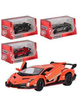 Машинка KT5367W (Lamborghini Veneno) металл, инер,13см,1:36,откр двери,4цвета,в кор-ке,16-7,5-8см