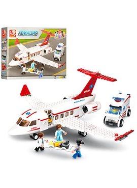 Конструктор SLUBAN M38-B0370, авиация,скор.помощь,самолет,машин,фигурки,в кор-ке,38-28,5-6,5см