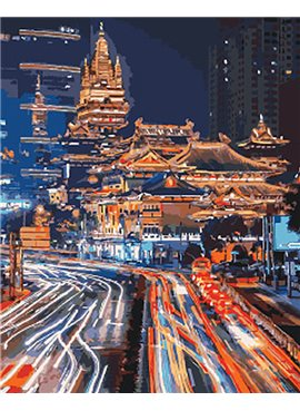 """Картина по номерам. Городской пейзаж """"Ночной Шанхай 2"""" 40*50см KHO3543"""