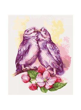 """Картина по номерам. Животные, птицы """"Милые совушки"""" 40х50см KHO4034"""
