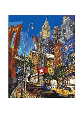 """Картина по номерам. Городской пейзаж """"По улицам Нью-Йорка"""" 40х50смKHO2172"""