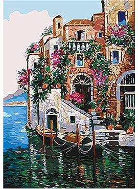 """Картина по номерам. Морской пейзаж """"Цвета Тосканы"""" 35*50см KHO2736"""