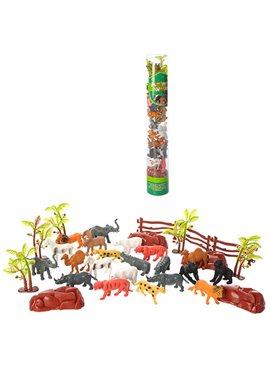 Животные 0018T-2 дикие, от5см, 24шт(12видов), в колбе 38см, 12шт в дисплее, 39-23-16,5см
