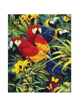 """Картина по номерам. Животные, птицы """"Разноцветные попугаи"""" 40х50см KHO4028 Идейка"""