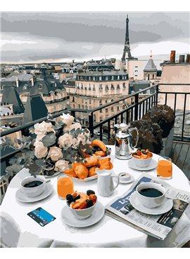 """Картина по номерам. Brushme """"Бизнес завтрак в Париже"""" GX27963 40*50"""
