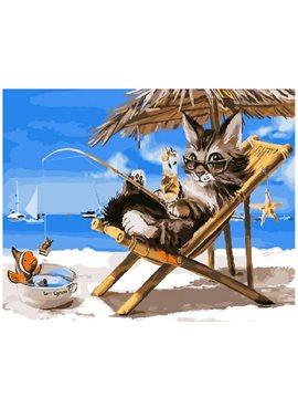 "Картина по номерам. Brushme ""Кошак на каникулах"" GX26079 40*50"