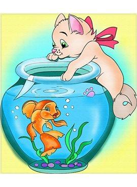 """Раскраска по номерам для детей """"Кошка с аквариумом"""" 18*24 см 7119 Идейка"""