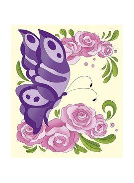 """Роспись по холсту. """"Бабочка в розах"""" 25*30см. 7156/2 Идейка 7156/2"""