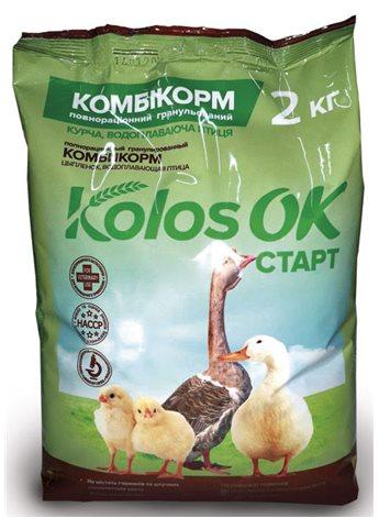 Комбикорм Колосок Старт для цыплят и водоплавающей птицы 2кг