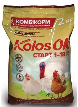 Комбикорм Колосок Старт для кур мясной породы, бройлеров и индюков 2кг
