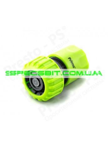 Коннектор Presto (Престо) для шланга 3/4 + аквастоп №5820 green