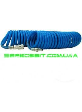 Шланг спиральный с быстроразъемным соединением 8x12мм, 15м Intertool (Интертул) PT-1717