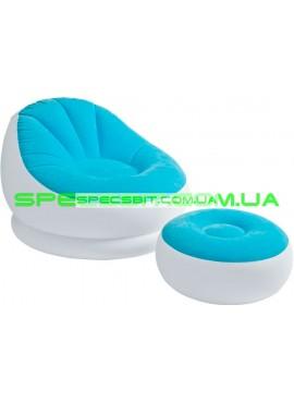 Надувное кресло Cafe Chaise Chair Intex (Интекс) 68572 104-109-71см, голубое