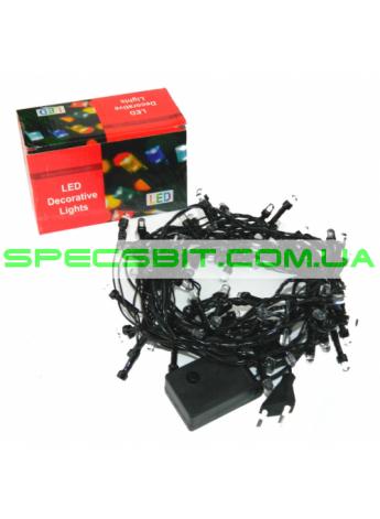 Гирлянда электрическая LED 100, светодиодная, с линзой, черный провод SH140