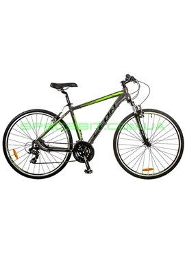 Велосипед дорожный LEON HD 85 рама-21 серый/зеленый OPS-LN-28-007