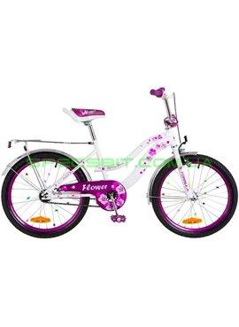 Велосипед Детский двухколесный для девочек Formula Flower 20 бело-фиолетовый OPS-FRK-20-048